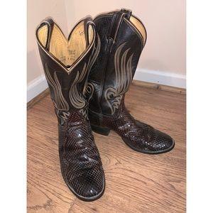 Tony Lama Brown Vintage Snakeskin Western Boots 9D